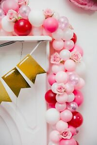 Pretty Pink 5 Feet Balloon Garland Balloon Back Drop Pink, White, Red, Clear