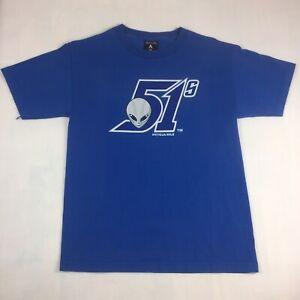 Las Vegas 51s Antigua Alien Head Short Sleeve T-Shirt Men's Size Medium Blue