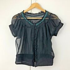 BOHO Size 8 10 Womens Black Green Sheer Summer Casual Work Peasant Top