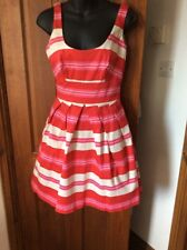 Gorgeous Pink Red & White Striped Cocktail Party Dress WAREHOUSE UK 10 Worn Once