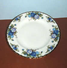 "Royal Albert MOONLIGHT ROSE Salad Dessert Plate 8"" Blue Roses Gold Trim New"