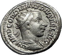 GORDIAN III 242AD Rome Authentic Original  Ancient Silver Roman Coin i67349