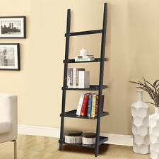 Leaning Ladder Bookcase Bookshelf 5 Shelves Contemporary Wall Shelf Stand Black
