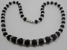 Black Faceted Graduated Crystal Necklace with Magnetic Clasp