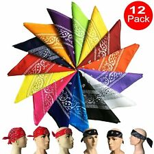 12-Pack Bandana 100% Cotton Paisley Print Double-Sided Scarf Head Neck Face Mask