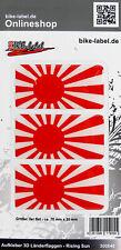 Aufkleber 3D Länder-Flaggen Rising Sun 3 Stck. je 70 x 35 mm - 300646