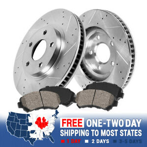 Front Drill Slot Brake Rotors & Ceramic Brake Pads For Accord Acura TL CL TSX