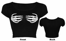 Women Ladies Halloween Short Cap Sleeve Skeleton Hand Skull Rose Print Crop Top