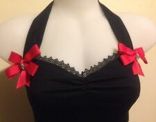 Halter top > Rockabilly Sexy Pin-up Style > diamonte skulls & red bows size L >>