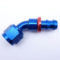 AN -8 AN8 JIC 45 Degree Swivel PUSH ON BARB Tail Fuel Oil Braided Hose Fitting