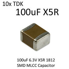 10pcs 100uF TDK SMD Capacitor 1812 6.3V X5R On Tape