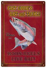 Fast Eddie's Fishing Trip Bait & Tackle Fisherman's Sign Garage Art