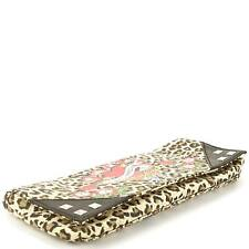 ED HARDY MARILYN LEOPARD PRINT CLUTCH W/ SILVER STUDS AND TATTOO DESIGN NWT!