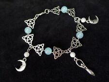 Moonstone bracelet déesse Wicca Pagan fait main lune triquetra moon bleu argenté