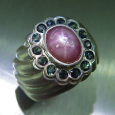 2.60ct Natural ray star ruby &blue sapphires Sterling 925 Silver ring 7,resiz
