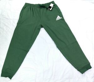 Adidas Men's Essential Fleece Joggers Green/White Striped New with Tags