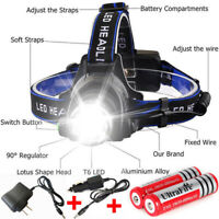 New!Zoom 90000LM Headlamp Rechargeable LED Headlight 18650 Flashlight Head Torch