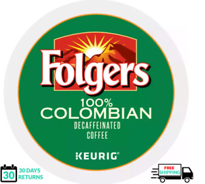 Folgers 100% Colombian Decaf Keurig Coffee K-cups YOU PICK THE SIZE