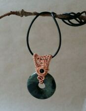 Copper and Cambaba Jasper Donut Bead Wire Wrapped Pendant Handmade