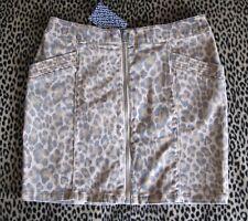 Rare! Distress Fade Leopard Animal Print Stretch Denim Gold Zip Mini Skirt XS/S