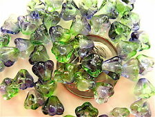 50 Blueberry Green Bell Flower Czech Glass Beads 6mm x 4mm