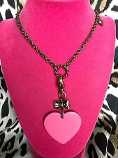 Betsey Johnson Vintage Peppermint Pink Lucite Heart Crystal Bow Long Necklace