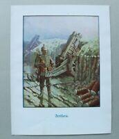 Patriotik Kunst Druck 1914-1918 G Adolf Closs Artillerie Mörser Soldat 1.WK WWI