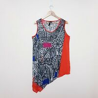 TS Taking Shape Womens Plus Size 12 Orange Black Abstract Sheer Tunic Tank Top