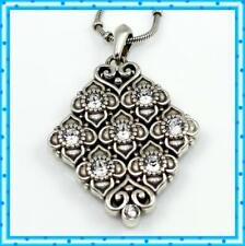 Brighton Alcazar Swarovski Crystal Silver Diamond Shape Pendant Necklace