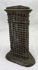 ANTIQUE Cast Iron FLATIRON Building Skyscraper Still Bank Complete New York