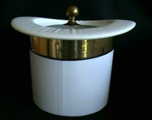 Rare White Kraftware Top Hat 3 qt. Ice Bucket with Gold Band Brass top