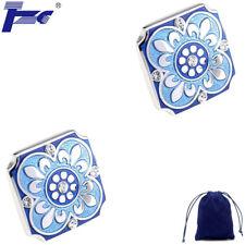 Fashion Cuff Link TZG05439 Blue Enamel Clear Stone Cufflinks With Velvet Bag