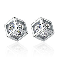 925 Solid Silver Austria Crystal Cube Stud Earrings Women Jewelry