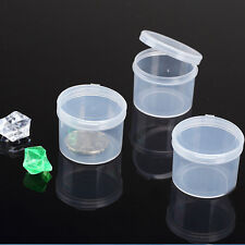 5pcs Round Plastic Clear Transparent Collection Container Case Storage Box