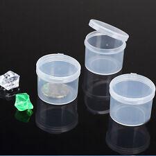 5pcs ronde plastique transparent collection boîte rangement stockage HQ