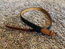 Polo Ralph Lauren brown leather brass buckle black watch green plaid belt 38 PRL