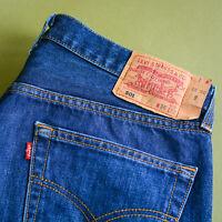 Levi 501 Jeans Blue Straight Button Fly Vintage Unisex (LabelW36L32) W 34 L 31