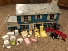 Vintage Marx Large Scale Tin Dollhouse With Stairs & Set of Furniture 1:24 3/4