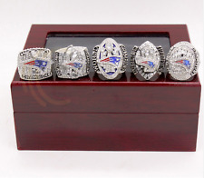 Newest 5 Pcs/set New England Patriots Championship Ring Wooden Red Box size 7-14