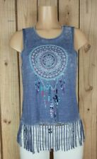 Almost Famous Womens Size Small Sleeveless Shirt Dream Catcher Print Blue Top