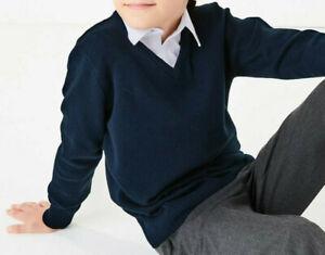 Unisex Kids Plain Pullover V Neck Jumper 100% Cotton Knit School Uniform