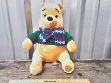 "Disney Store Winnie the Pooh 12"" Plush Stuffed Animal Toy Bear green Sweater"