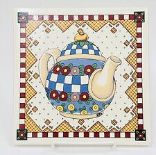 Mary Engelbreit Me Large Teapot Tile Trivet Donut Flowers 8� X 8� Euc