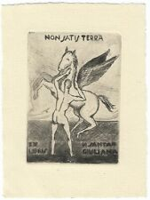 NERONE SANTAGIULIANA: Eigen- Exlibris; Pegasus, männlicher Akt; 1943