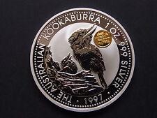 Australia. 1997 1oz - Silver Kookaburra. Gold - Dragon Privy Mark..BU / SPECIMEN