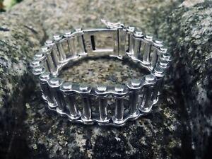 12mm Bike Chain Bracelet .925 silver bangle biker viking rock gothic metal