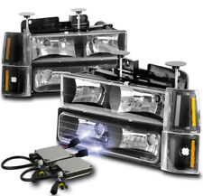 94-98 GMC C/K 1500 2500 SUBURBAN SIERRA HEADLIGHTS LAMPS W/BUMPER+10K HID BLACK