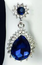 """Lovely!1.5"""" Blue Crystal Rhinestone Earrings, Drag Queen, Prom, Evening, Pageant"""