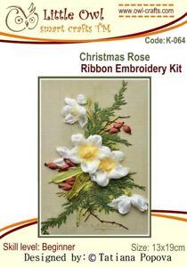 Little Owl Silk Ribbon Embroidery Kit - Christmas Rose - K-064 Beginner Level