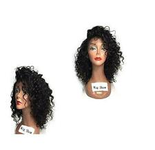 Women Black Synthetic Lace Front Wig Heat Resistant Hair Wig Wavy Curly Wigs+Cap